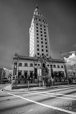 Liberty Building Photograph - Miami Freedom Tower 4 - Miami - Florida - Black And White by Ian Monk