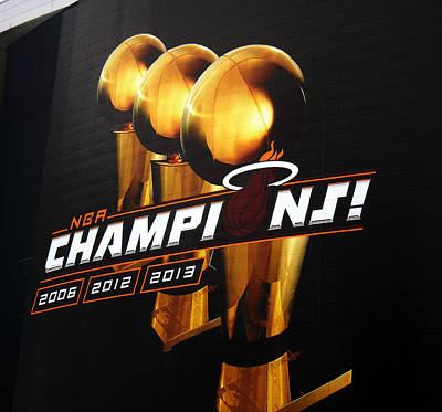 Miami Heat Aaa Championship Banner Art Print by J Anthony