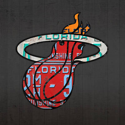 Sports Mixed Media - Miami Heat Basketball Team Retro Logo Vintage Recycled Florida License Plate Art by Design Turnpike