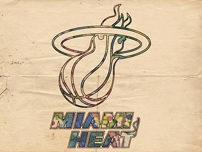 Miami Painting - Miami Heat Logo Poster by Florian Rodarte