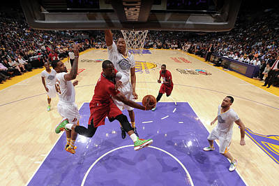 Photograph - Miami Heat V Los Angeles Lakers by Andrew D. Bernstein