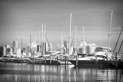 Photograph - Miami Marina In Black And White by Rudy Umans