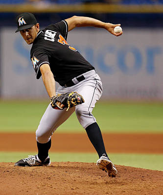 Photograph - Miami Marlins V Tampa Bay Rays by Mike Carlson