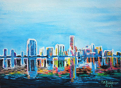 Miami Neon Skyline Waterline Original by M Bleichner