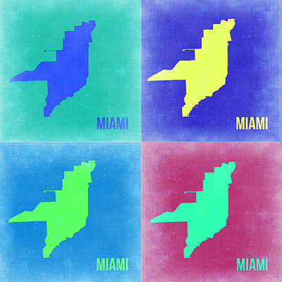 Miami Painting - Miami Pop Art Map 2 by Naxart Studio