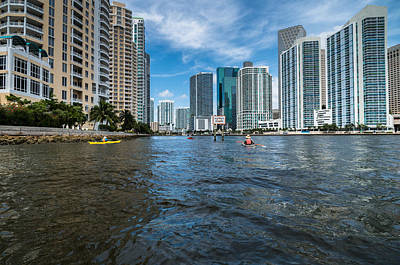Miami River Kayakers Art Print by Jonathan Gewirtz