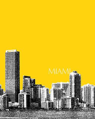 Digital Art - Miami Skyline - Mustard by DB Artist