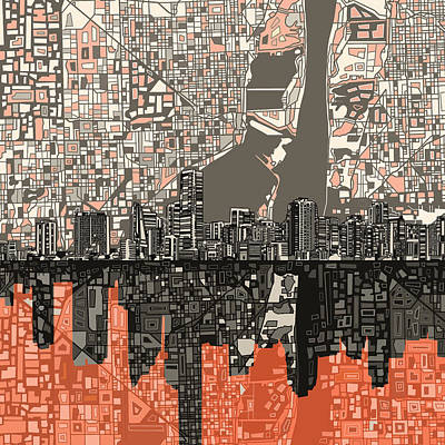 Miami Skyline Painting - Miami Skyline Abstract 2 by Bekim Art