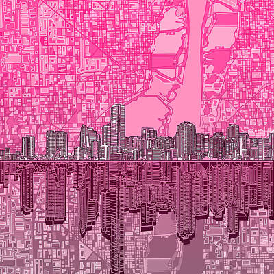 Painting - Miami Skyline Abstract 4 by Bekim Art
