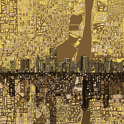 Miami Skyline Painting - Miami Skyline Abstract 6 by Bekim Art