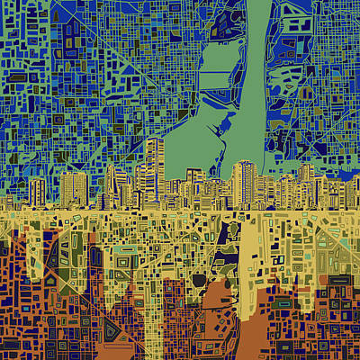 Miami Skyline Painting - Miami Skyline Abstract 7 by Bekim Art