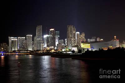 Miami Skyline And Arena At Night Art Print