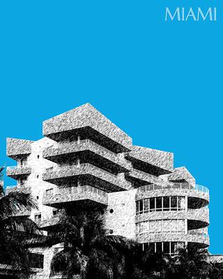 Pen Digital Art - Miami Skyline Art Deco District - Ice Blue by DB Artist