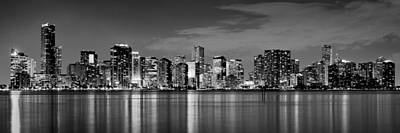 Miami Skyline At Dusk Black And White Bw Panorama Art Print by Jon Holiday