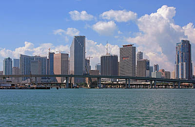 Miami Skyline Photograph - Miami Skyline Bridge by Manuel Lopez