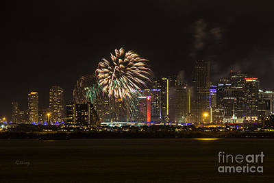 Photograph - Miami Skyline Fireworks by Rene Triay Photography