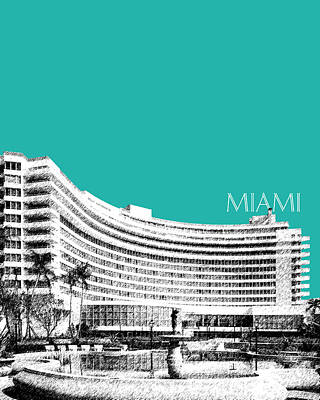Pen Digital Art - Miami Skyline Fontainebleau Hotel - Teal by DB Artist