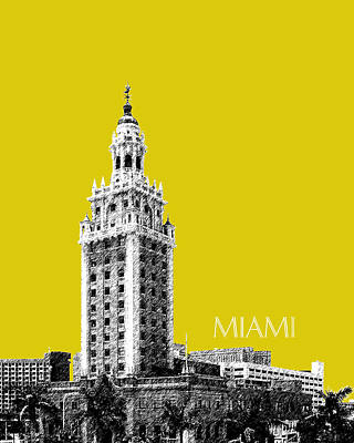 Miami Skyline Digital Art - Miami Skyline Freedom Tower - Mustard by DB Artist