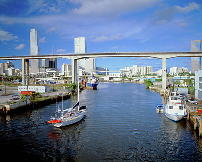 Small Boat Photograph - Miami Skyline From Bay, Florida by Panoramic Images