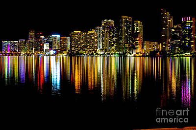 American Airlines Arena Photograph - Miami Skyline II High Res by Rene Triay Photography