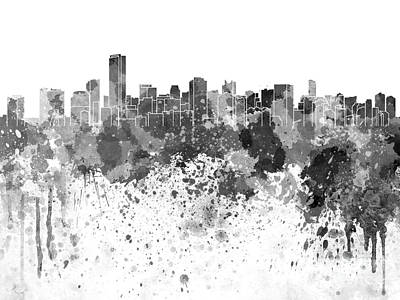 Miami Skyline Painting - Miami Skyline In Black Watercolor On White Background by Pablo Romero