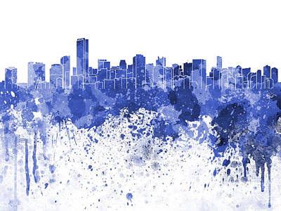 Miami Skyline Painting - Miami Skyline In Blue Watercolor On White Background by Pablo Romero
