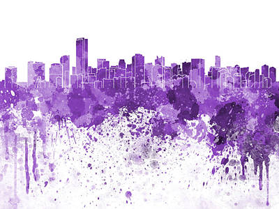 Miami Skyline Painting - Miami Skyline In Purple Watercolor On White Background by Pablo Romero