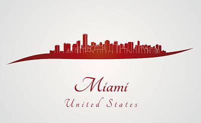 Miami Skyline Digital Art - Miami Skyline In Red by Pablo Romero
