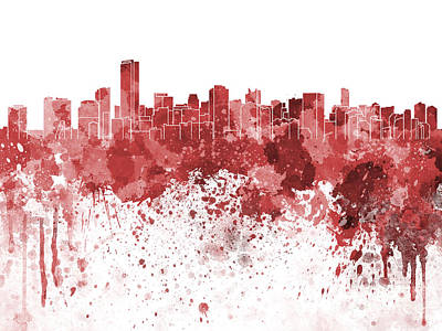 Miami Skyline Painting - Miami Skyline In Red Watercolor On White Background by Pablo Romero