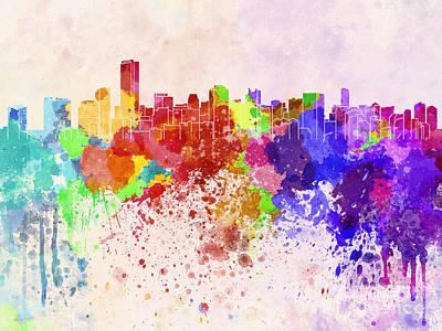 Miami Skyline Digital Art - Miami Skyline In Watercolor Background by Pablo Romero