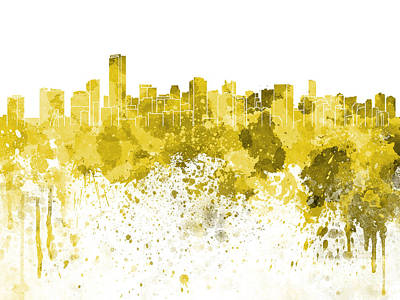 Miami Skyline Painting - Miami Skyline In Yellow Watercolor On White Background by Pablo Romero
