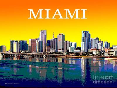 Miami Skyline Photograph - Miami Skyline by Michael Chatman