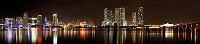 Miami - Skyline Panorama Art Print by Brendan Reals