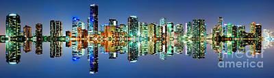 Miami Skyline Panorama Art Print by Carsten Reisinger