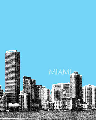 Miami Skyline Digital Art - Miami Skyline - Sky Blue by DB Artist