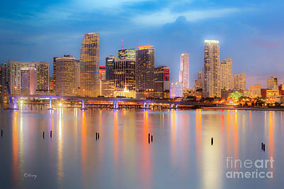 Miami Skyline Photograph - Miami Skyline On A Still Night- Soft Focus  by Rene Triay Photography