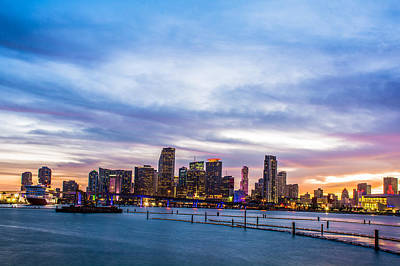 Miami Skyline Photograph - Miami Skyline Sunset by Manuel Lopez