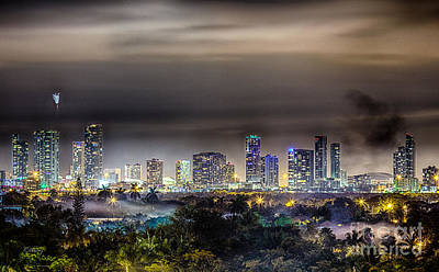 Miami Skyline-the Mystical City Hdr Art Print by Rene Triay Photography