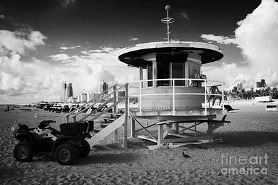 Miami South Beach Ocean Rescue Tower And Quad Atv  Florida Usa Art Print