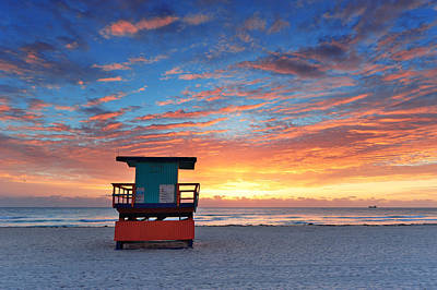Photograph - Miami South Beach Sunrise  by Songquan Deng