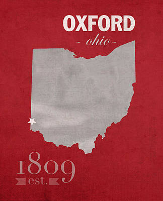 Miami Mixed Media - Miami University Of Ohio Redhawks Oxford College Town State Map Poster Series No 064 by Design Turnpike
