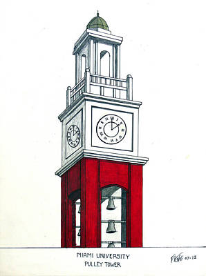 Drawing - Miami University Ohio by Frederic Kohli