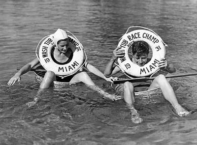 Floating Girl Photograph - Miami Washtub Winners by Underwood Archives