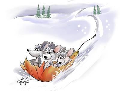 Mic Mac And Moe's Winter Holiday Art Print by Liz Viztes