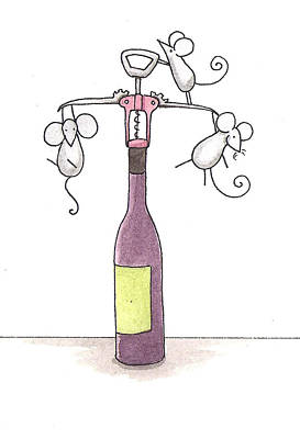 Restaurant Art Drawing - Mice With Wine by Christy Beckwith