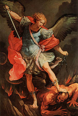 Painting - Michael Defeats Satan by Guido Reni