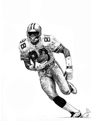 Dallas Cowboys Drawing - Michael Irvin by Joshua Sooter