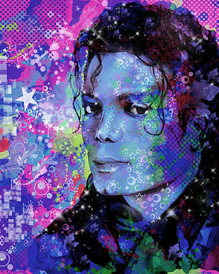 Abstract Digital Painting - Michael Jackson 17 by Bekim Art
