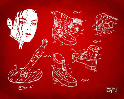 Michael Jackson Drawing - Michael Jackson Anti-gravity Shoe Patent Artwork Red by Nikki Marie Smith