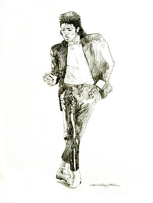 Michael Drawing - Michael Jackson Billy Jean by David Lloyd Glover